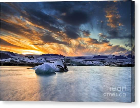sunset at Jokulsarlon iceland Canvas Print
