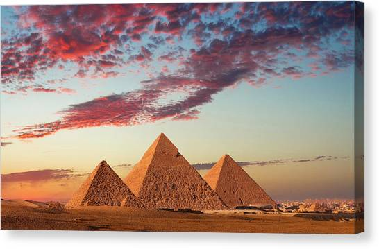 Sunset At The Pyramids, Giza, Cairo Canvas Print by Nick Brundle Photography