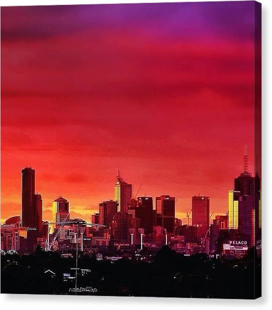 Australian Canvas Print - Sunset Cityscape Of Melbourne by Sammy Evans