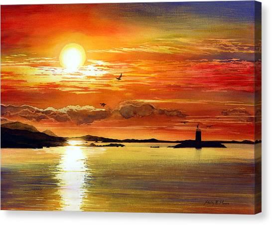 Lake Sunsets Canvas Print - Sunset Lake by Hailey E Herrera