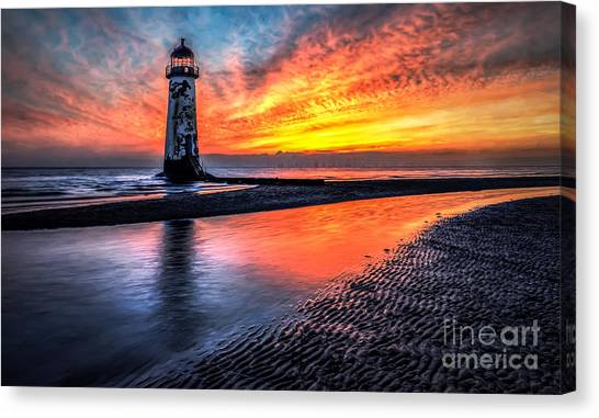 Wind Farms Canvas Print - Sunset Lighthouse by Adrian Evans
