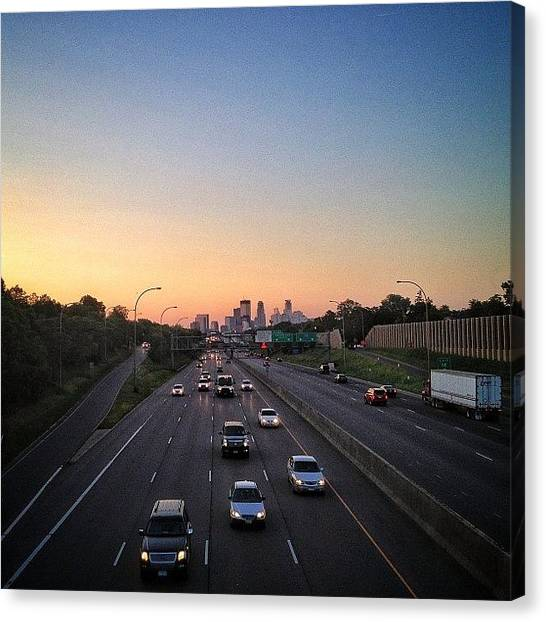Interstates Canvas Print - #sunset #minneapolis #minnesota by Mike S