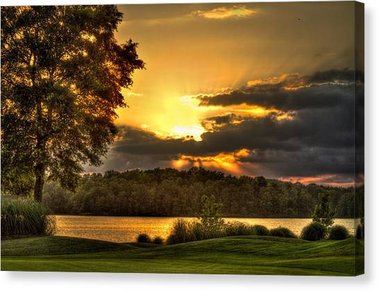 Jack Nicklaus Canvas Print - Sunset Golf Hole Lake Oconee by Reid Callaway