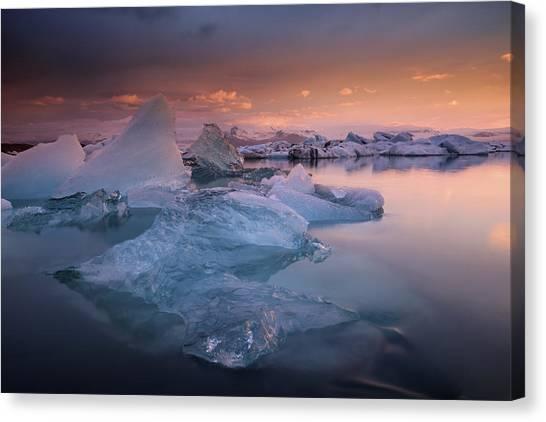 Glacier Bay Canvas Print - Sunset Over Glacier Bay In Iceland by Keith Ladzinski