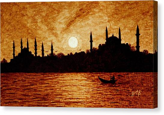 Canvas Print featuring the painting Sunset Over Istanbul Original Coffee Painting by Georgeta  Blanaru