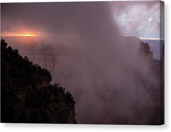 Rainclouds Canvas Print - Sunset Over The Grand Canyon by Jim West