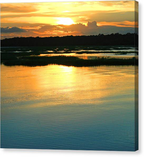 Marshes Canvas Print - Sunset Over The Marsh by Tony Delsignore