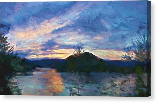Sunset Pano - Watauga Lake Canvas Print