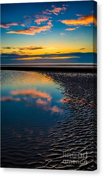 Wind Farms Canvas Print - Sunset Reflections by Adrian Evans