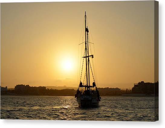Pirates Canvas Print - Sunset Sailing In Cabo by Christine Till