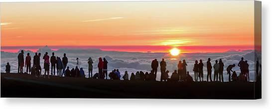 Sunset Horizon Canvas Print - Sunset Tourism On Haleakala by Babak Tafreshi