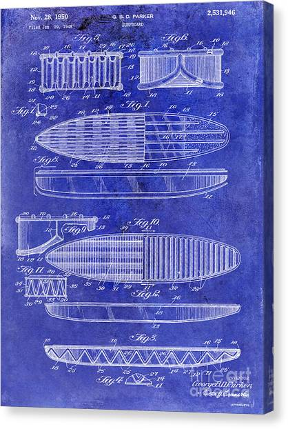 Surfboard Canvas Print - Surfboard Patent Drawing 1950 Blue by Jon Neidert