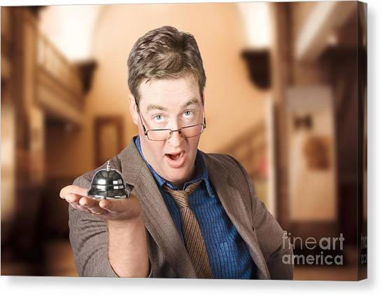 Clothing Store Canvas Print - Surprised Customer Holding Retail Service Bell by Jorgo Photography - Wall Art Gallery