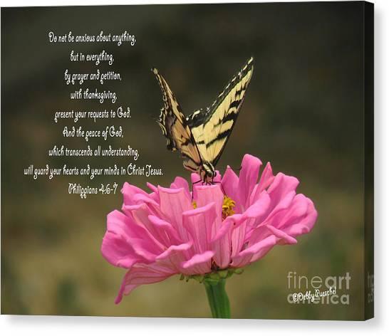 Swallowtail On A Zinnia Canvas Print