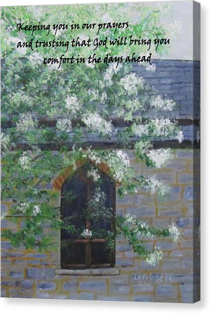 Sympathy Card With Church Canvas Print