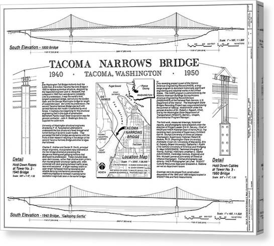 Tacoma Narrows Bridges Compared Canvas Print by Library Of Congress/science Photo Library