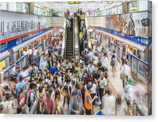 Taipei Metro Rush Canvas Print