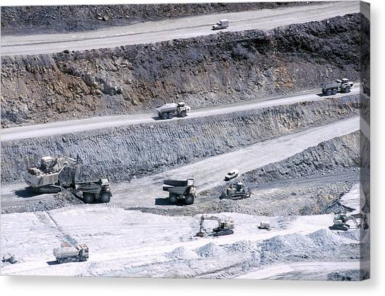 Excavators Canvas Print - Talc Quarry Trucks by Philippe Psaila/science Photo Library
