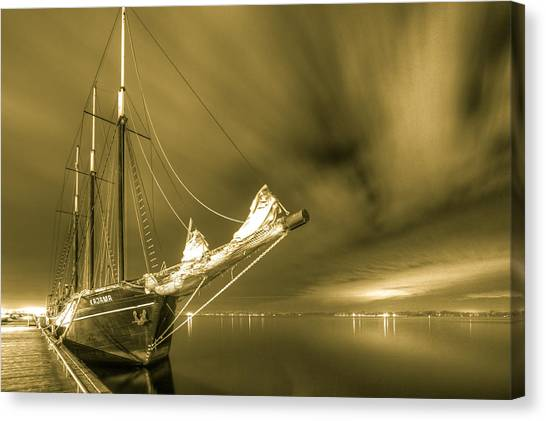 Tall Ship In The Lights Of Toronto Canvas Print