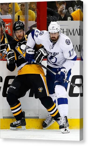 Tampa Bay Lightning V Pittsburgh Penguins - Game Seven Canvas Print by Justin K. Aller