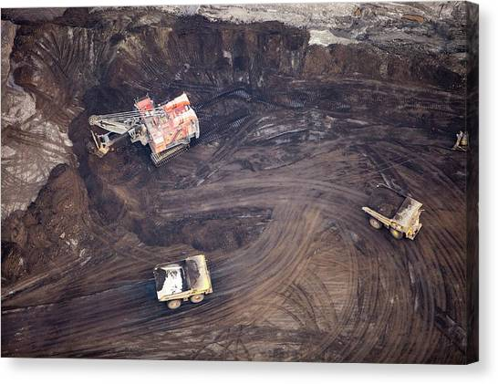 Dump Trucks Canvas Print - Tar Sands Deposits Being Mined by Ashley Cooper