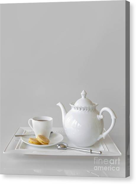Tea Set Canvas Print - Tea And Cookies by Diane Diederich