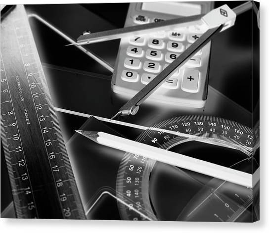 Protractors Canvas Print - Technical Drawing Equipment by Tek Image
