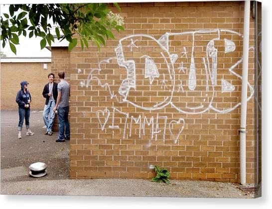 Graffiti Walls Canvas Print - Teenage Drinking by Jim Varney/science Photo Library