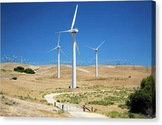 Wind Farms Canvas Print - Tehachapi Pass Wind Farm by Jim West