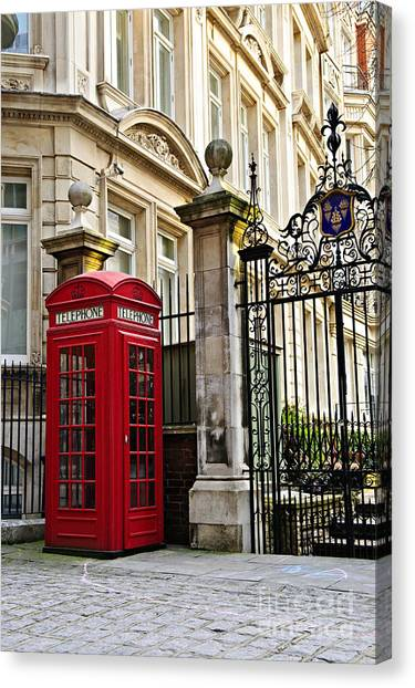 Gates Canvas Print - Telephone Box In London by Elena Elisseeva