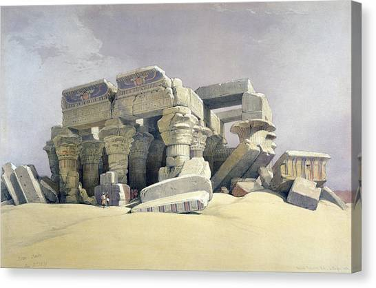 The Nile Canvas Print - Temple On Nile by David Roberts