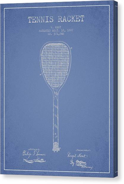 Tennis Ball Canvas Print - Tennis Racket Patent Drawing From 1887 by Aged Pixel