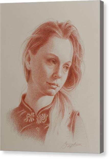 Long Hair Canvas Print - Teresa by Todd Baxter