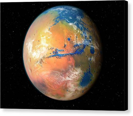 Terraformed Mars Canvas Print by Mark Garlick/science Photo Library