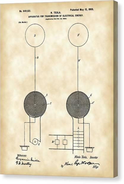Transmission Canvas Print - Tesla Electric Transmission Patent 1900 - Vintage by Stephen Younts