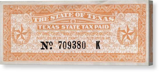 Taxes Canvas Print - Texas Beer Tax Stamp by Jon Neidert