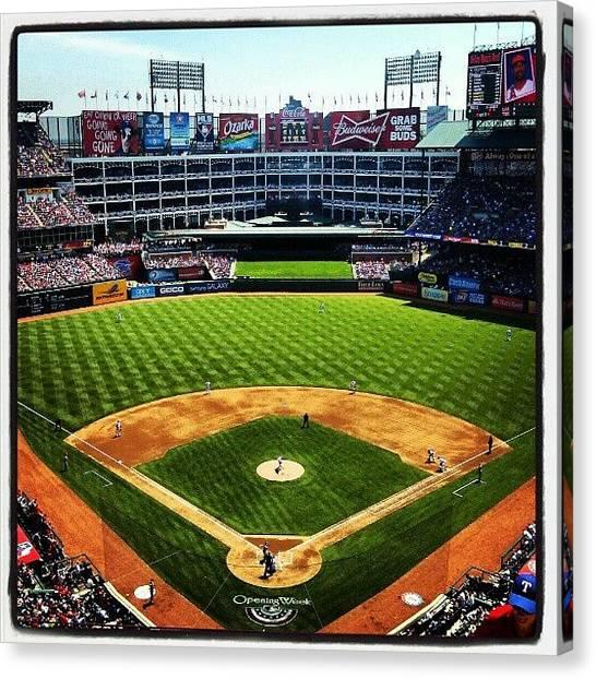 Texas Rangers Canvas Print - #texas #rangers #baseball Opening by Tessa Howington