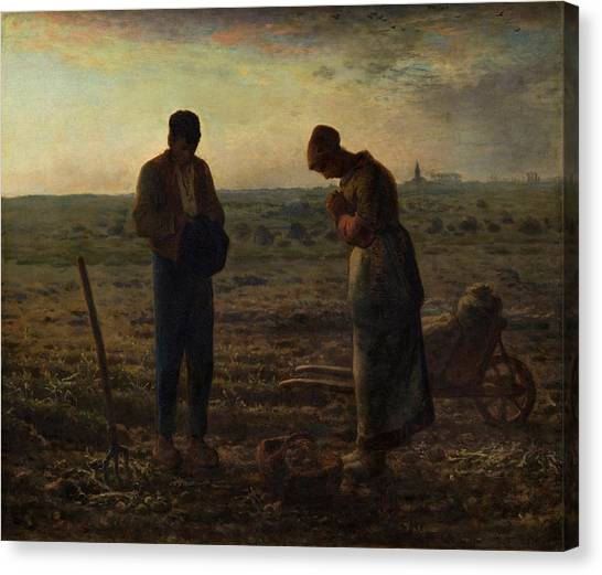 Canvas Print featuring the painting The Angelus by Jean Francois Millet