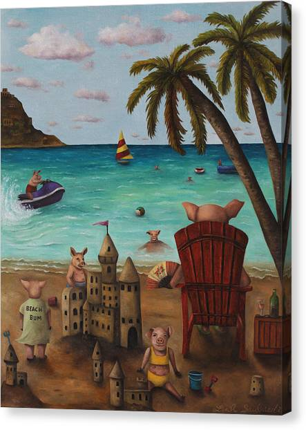 Jet Skis Canvas Print - The Bacon Shortage by Leah Saulnier The Painting Maniac