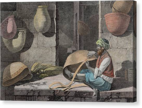 Matting Canvas Print - The Basket Maker, From Volume II Arts by Nicolas Jacques Conte