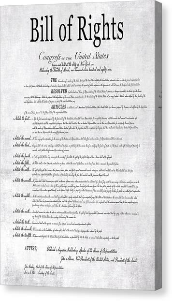 Libertarian Canvas Print - The Bill Of Rights H K by Daniel Hagerman