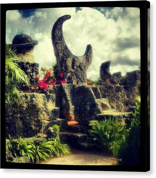 Saturn Canvas Print - The Moon At The Coral Castle by Elisa Yinh