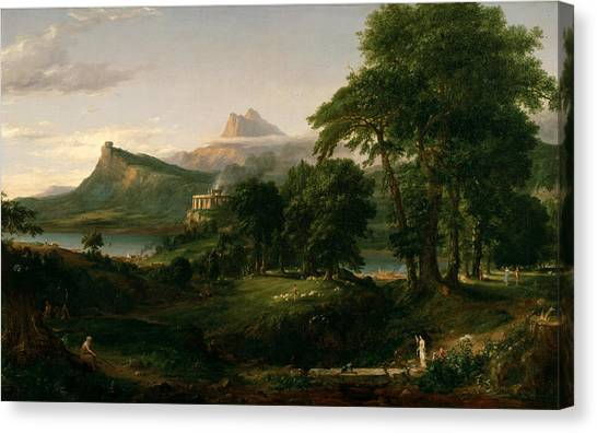 The Course Of Empire The Arcadian Or Pastoral State Canvas Print