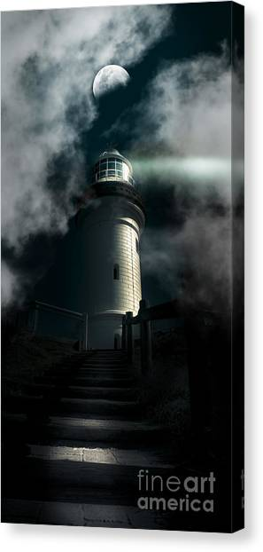 Caution Canvas Print - The Dark Atmospheric Lighthouse by Jorgo Photography - Wall Art Gallery