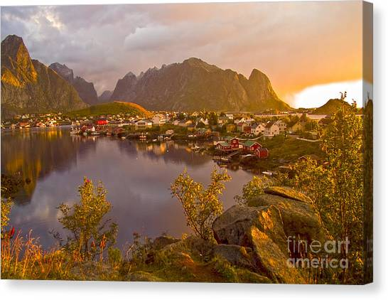 The Day Begins In Reine Canvas Print