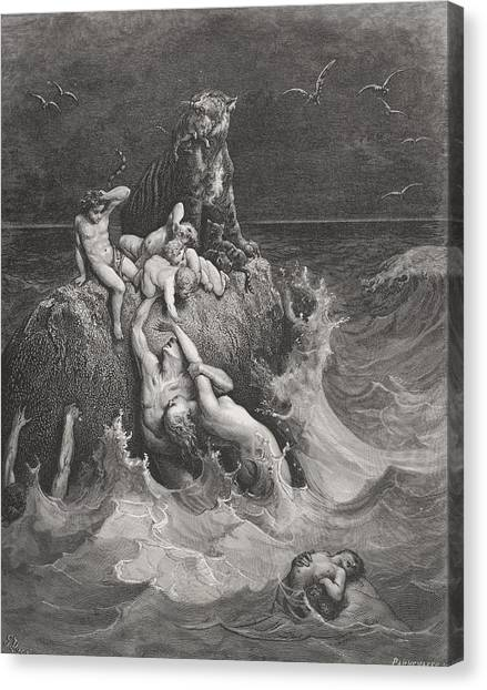 Holy Bible Canvas Print - The Deluge by Gustave Dore