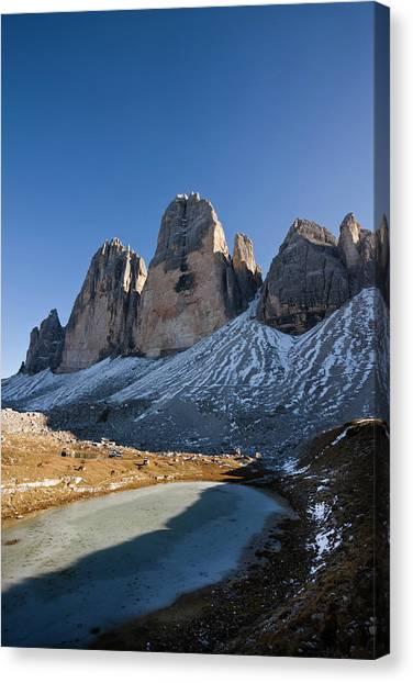 Ice Climbing Canvas Print - The Drei Zinnen, Tre Cime Di Lavaredo by Martin Zwick