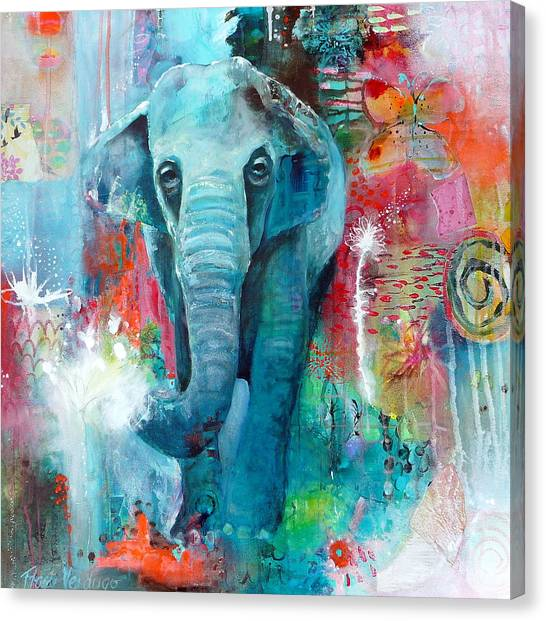 Canvas Print - The Elephant And The Butterfly by Tracy Verdugo
