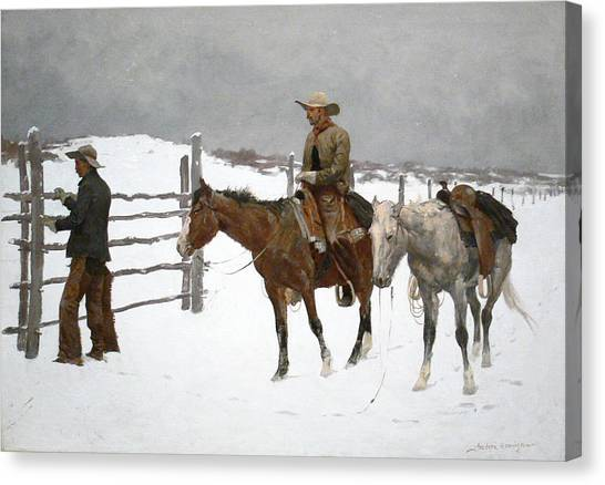 The Fall Of The Cowboy Canvas Print