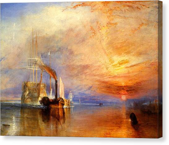 Romanticism Canvas Print - The Fighting Temeraire Tugged To Her Last Berth To Be Broken Up by J M W Turner